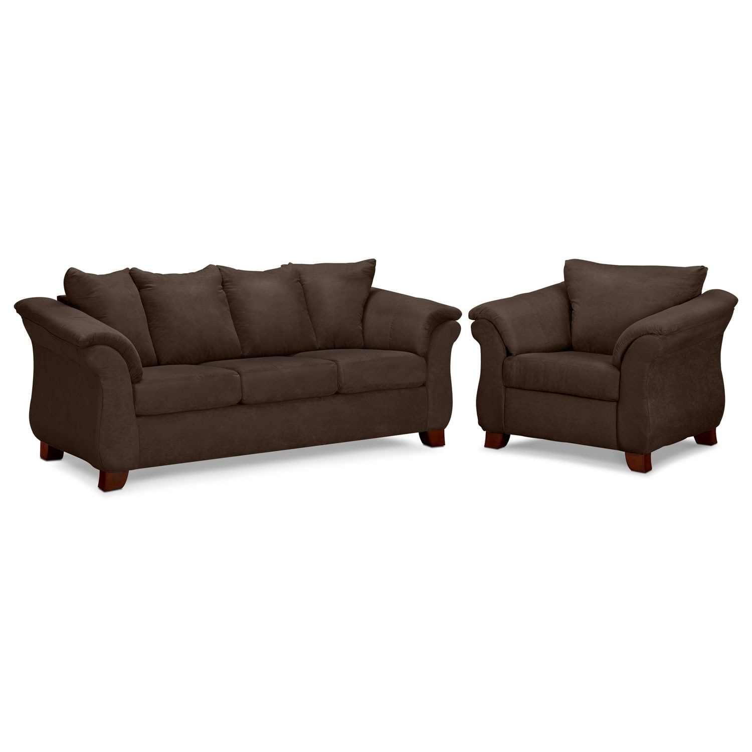 adrian sofa and chair set chocolate american signature furniture. Black Bedroom Furniture Sets. Home Design Ideas