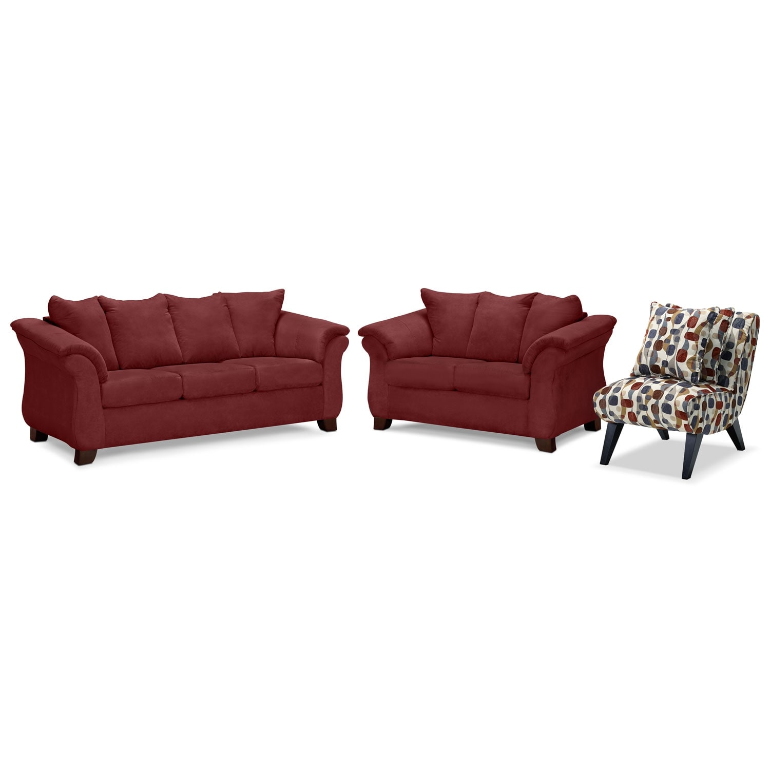 Adrian Red 3 Pc Living Room W Accent Chair Value City Furniture