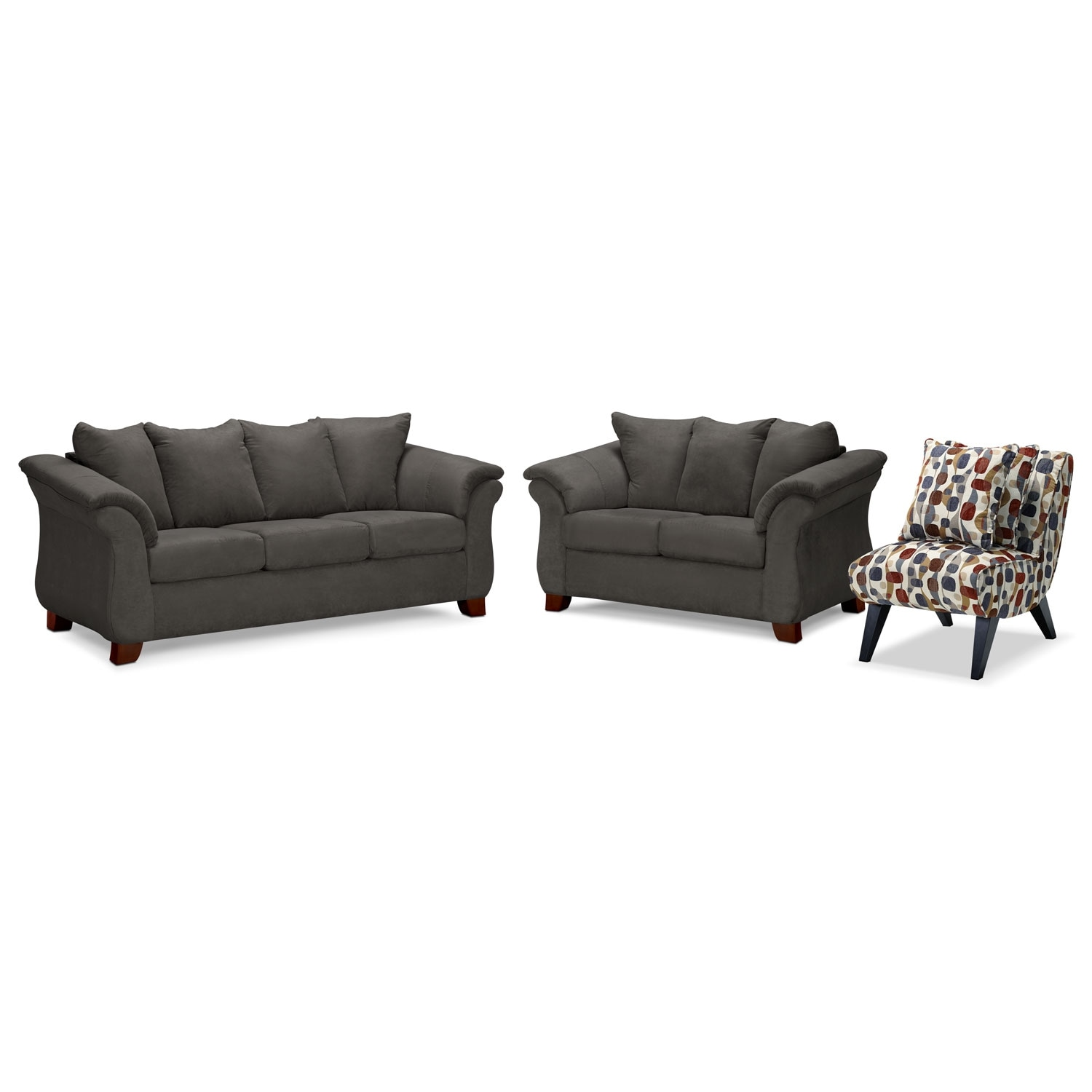Adrian Sofa Loveseat And Accent Chair Set Graphite Value City Furniture