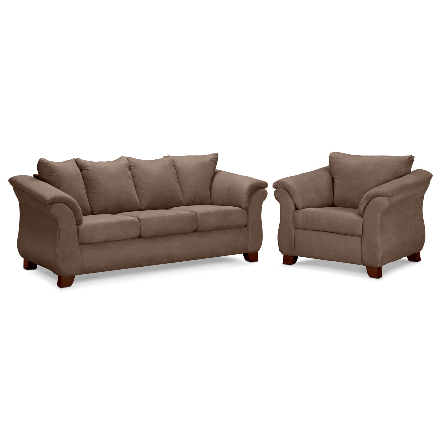 Adrian sofa and chair set taupe value city furniture for Living furniture packages