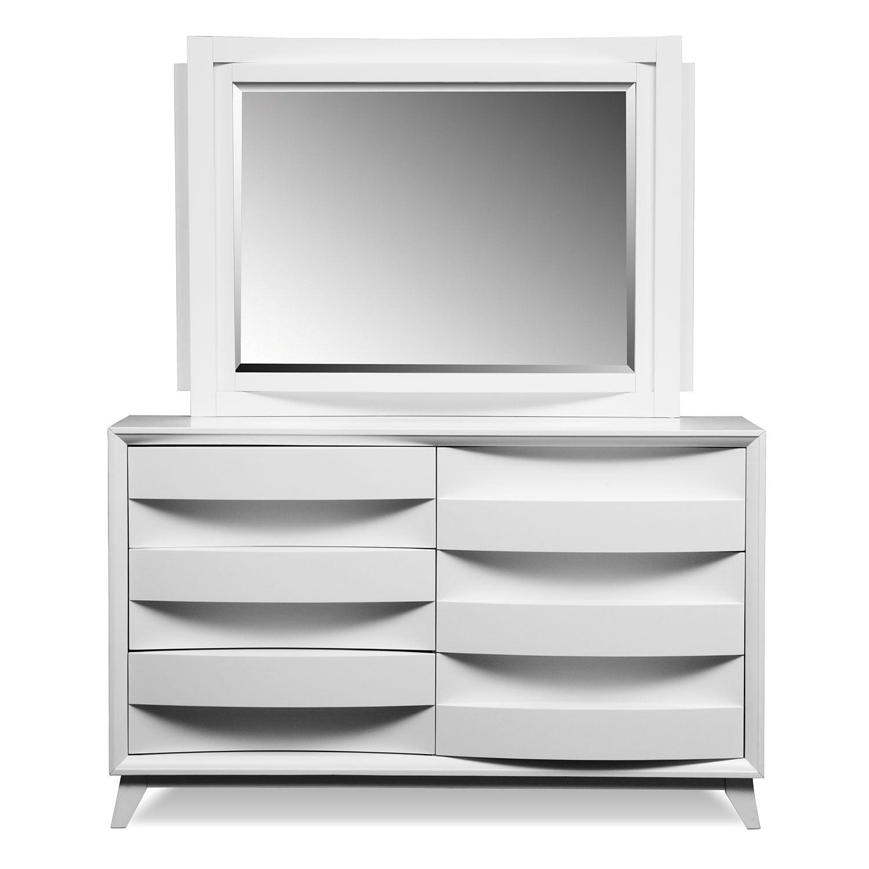 cascade white bedroom dresser mirror value city furniture