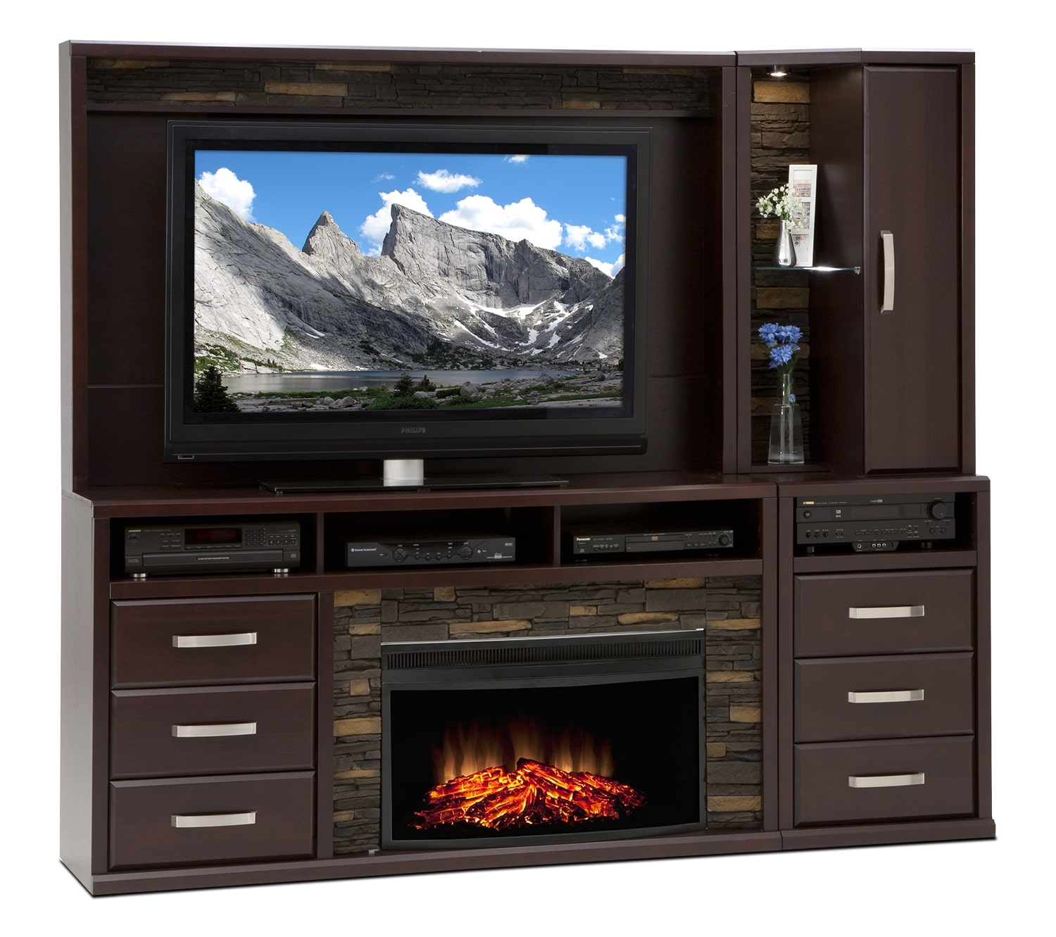 Entertainment Furniture - Gamble 5-Piece Fireplace Entertainment Unit - Bordeaux