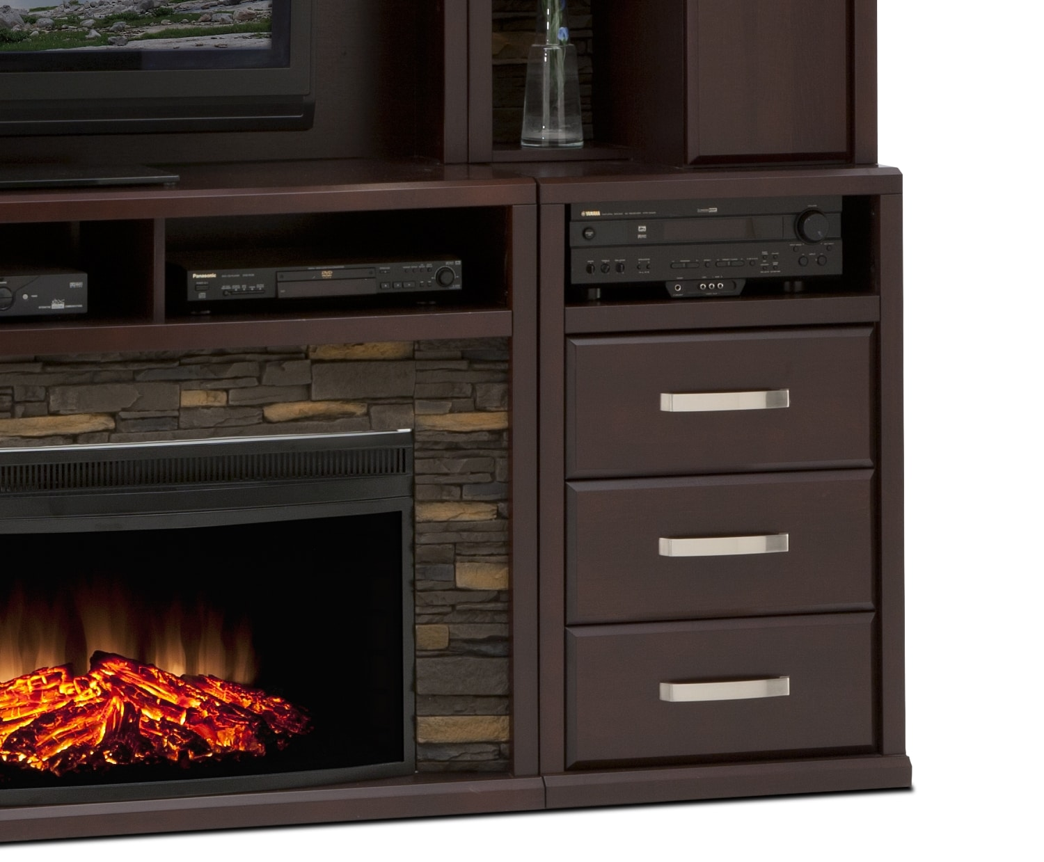 Gamble 5 Piece Fireplace Entertainment Unit Bordeaux