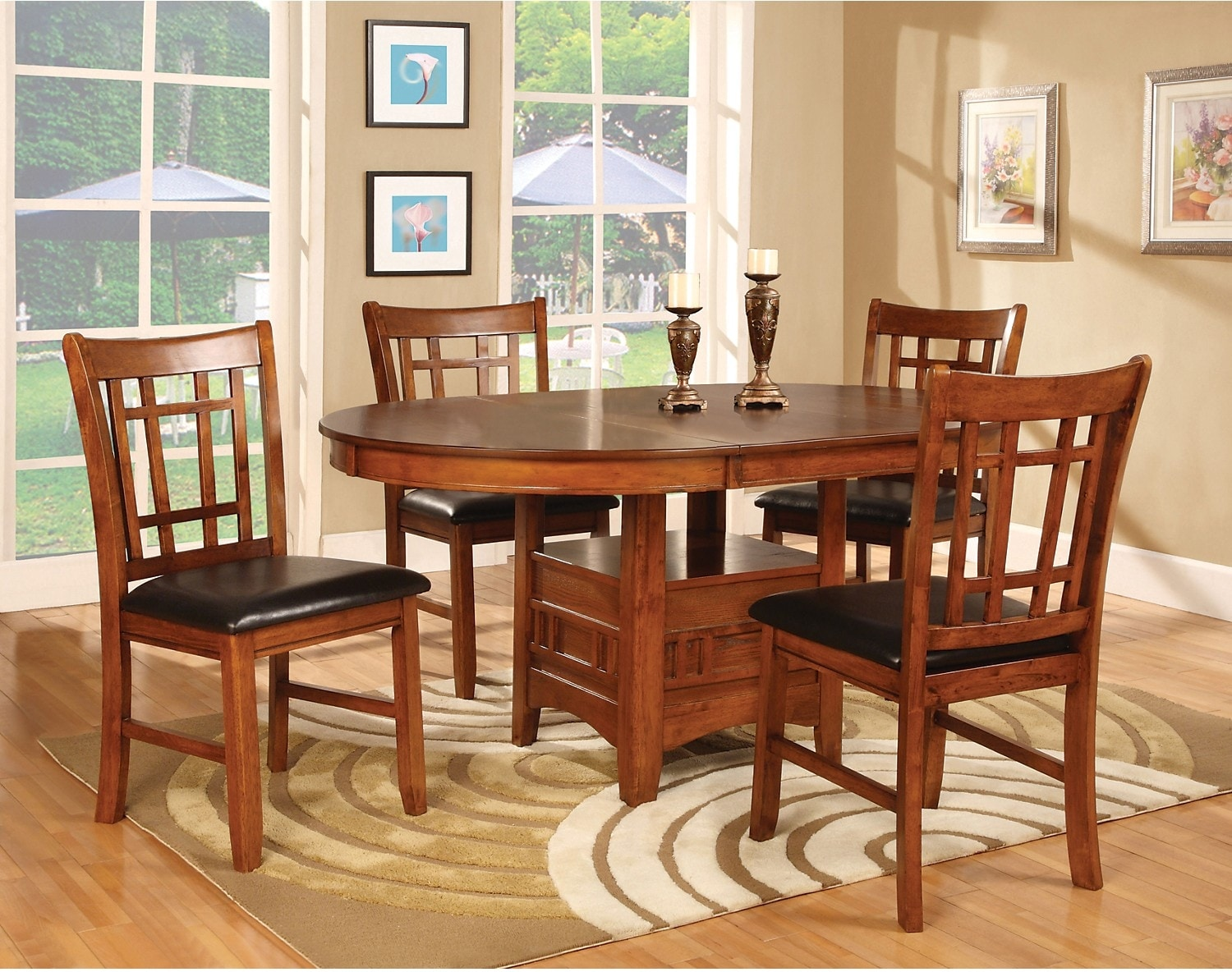 Dalton 7 piece dining package oak united furniture for Basic dining table