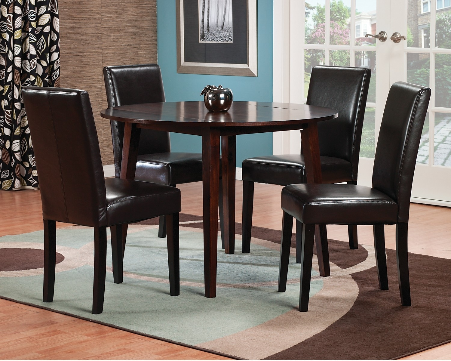 Dining Room Furniture - Adara 5-Piece Round Dining Package with Brown Accent Chairs
