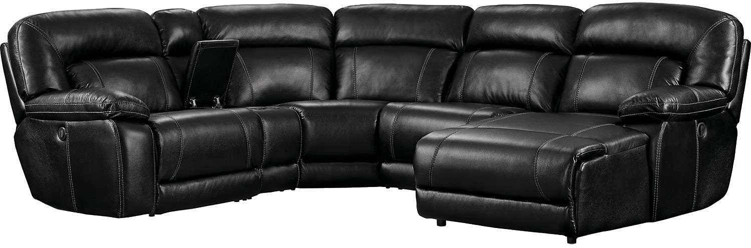Kimba 5-Piece Leather-Look Fabric Sectional with Left-Facing Power Reclining Chair - Black