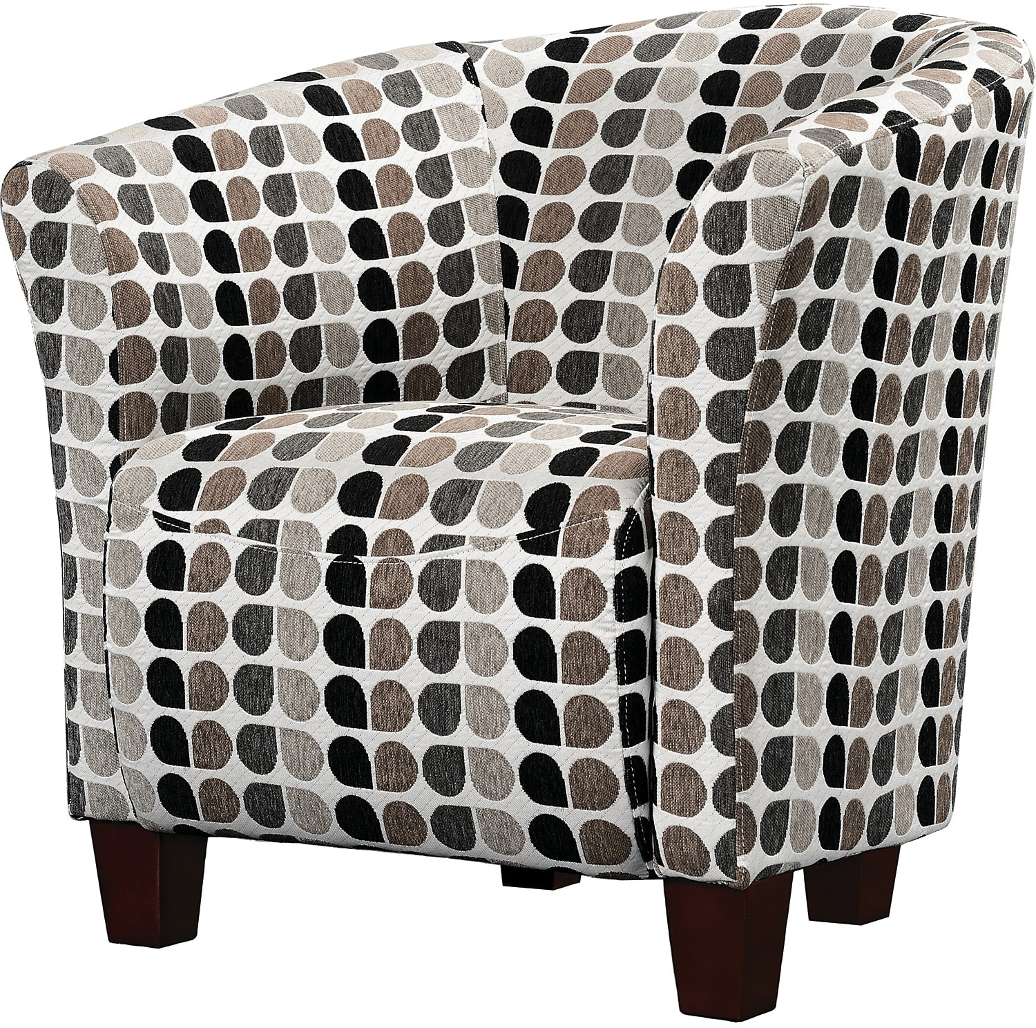Accent and Occasional Furniture - Tub-Style Fabric Accent Chair - Steel
