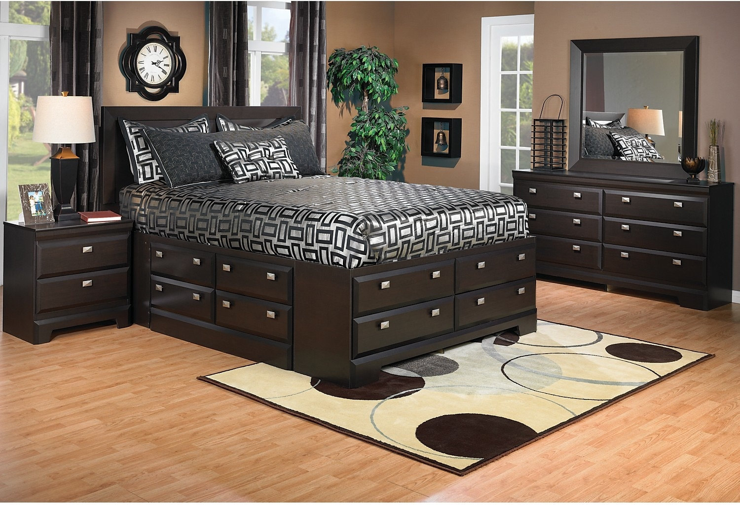 Yorkdale 6 piece queen storage bedroom package the brick for Queen furniture set