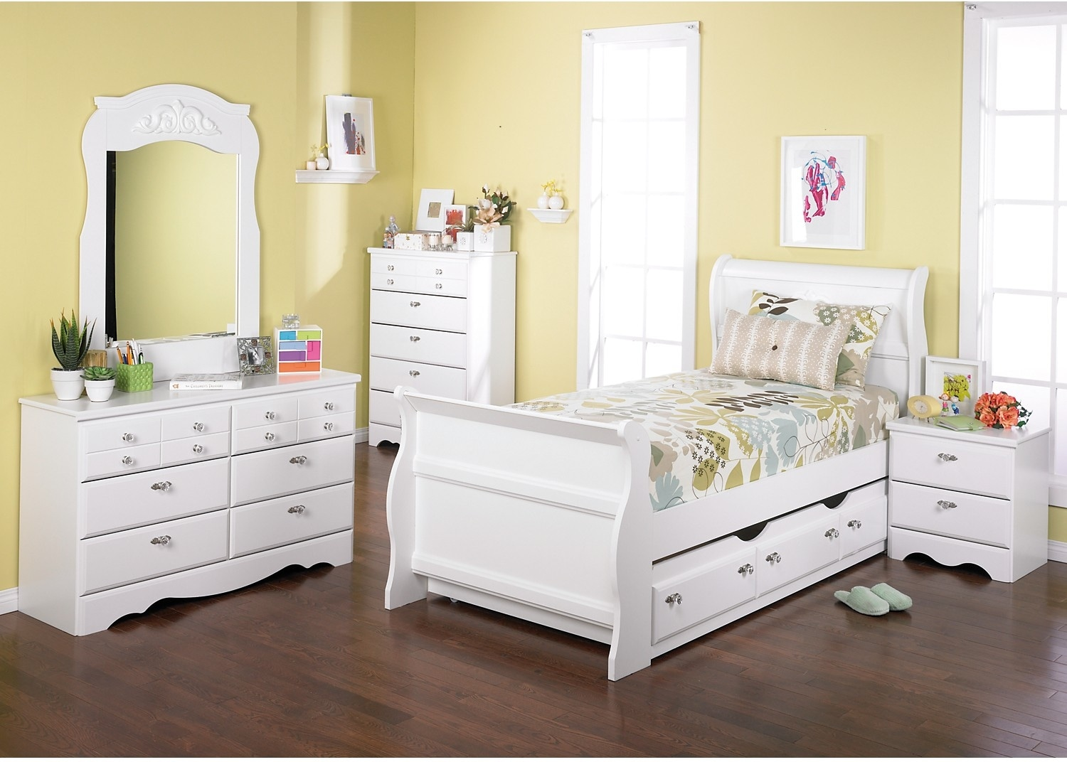 Kids Furniture - Diamond Dreams 6-Piece Twin Sleigh Bedroom Package with Trundle - White