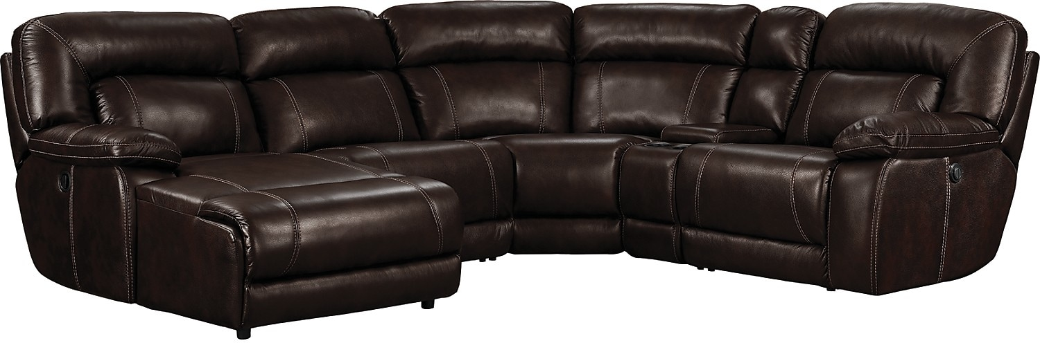 Living Room Furniture - Kimba 5-Piece Leather-Like Fabric Sectional with Right-Facing Power Reclining Chair - Brown