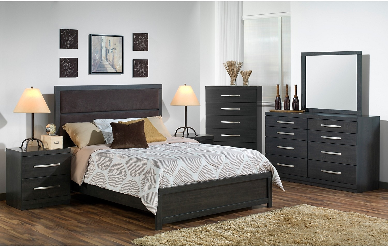 Willowdale 8 piece queen bedroom package the brick for Cheap bedroom furniture packages