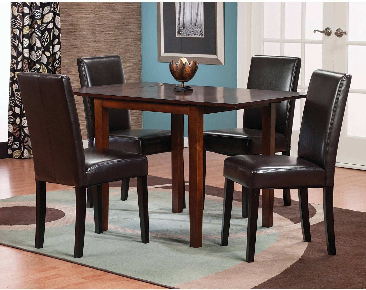 Dining Room Furniture - Adara 5-Piece Square Dining Package with Brown Accent Chairs