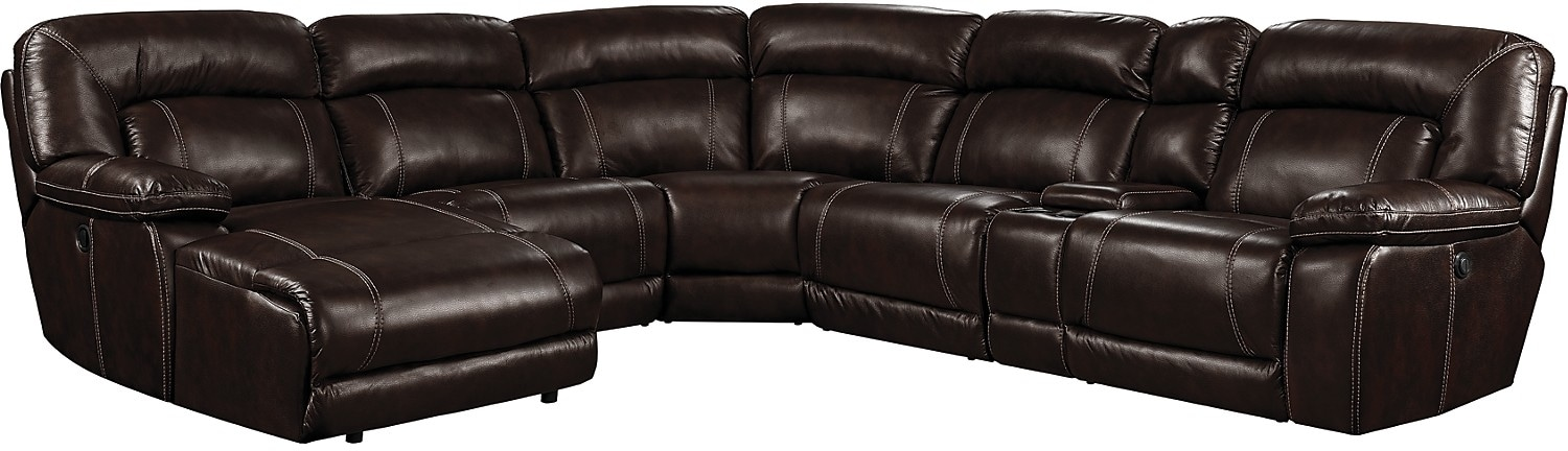 Kimba 6-Piece Leather-Look Fabric Sectional with Right-Facing Power Reclining Chair - Brown
