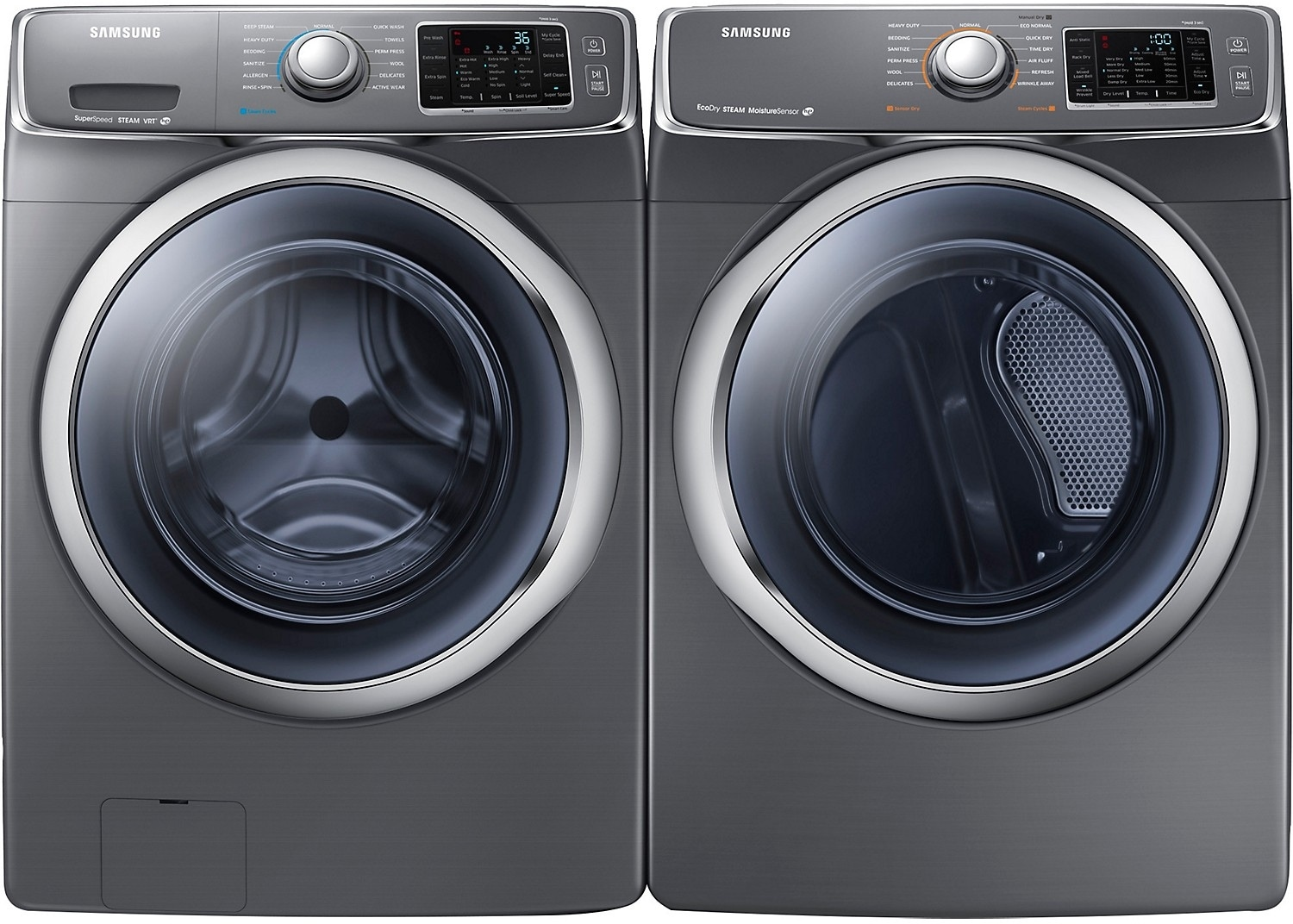 Samsung 4.8 Cu. Ft. Front-Load Washer and 7.5 Cu. Ft. Electric Dryer – Platinum
