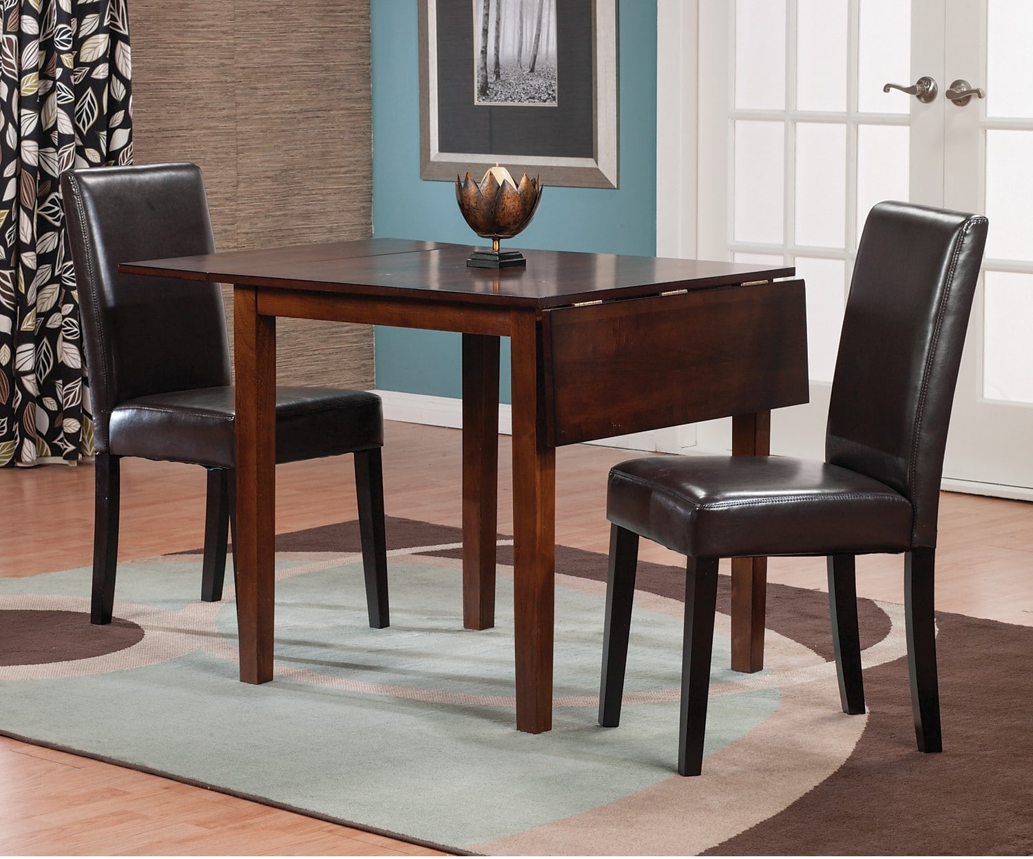 Adara 3-Piece Square Dining Package with Brown Accent Chairs