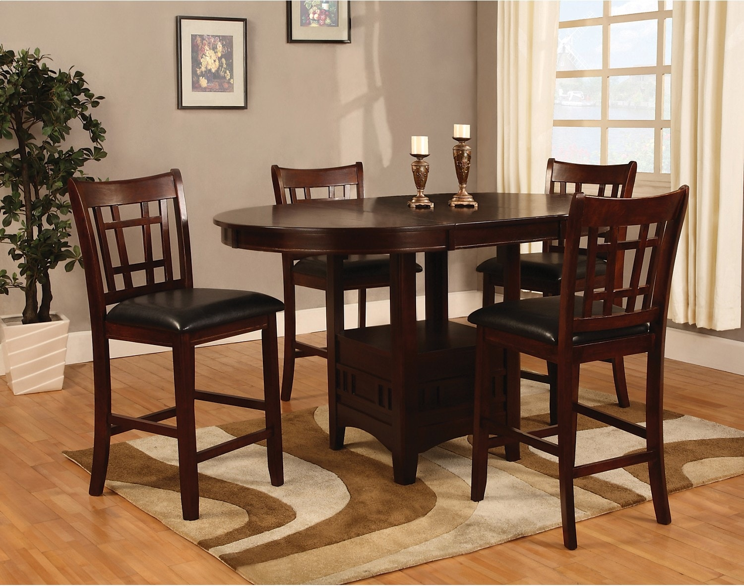 Dalton 7 Piece Counter Height Dining Package   Chocolate