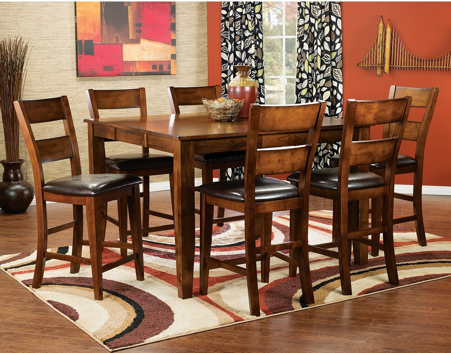 Dining Room Furniture - Dakota Light 8-Piece Pub-Height Dining Package