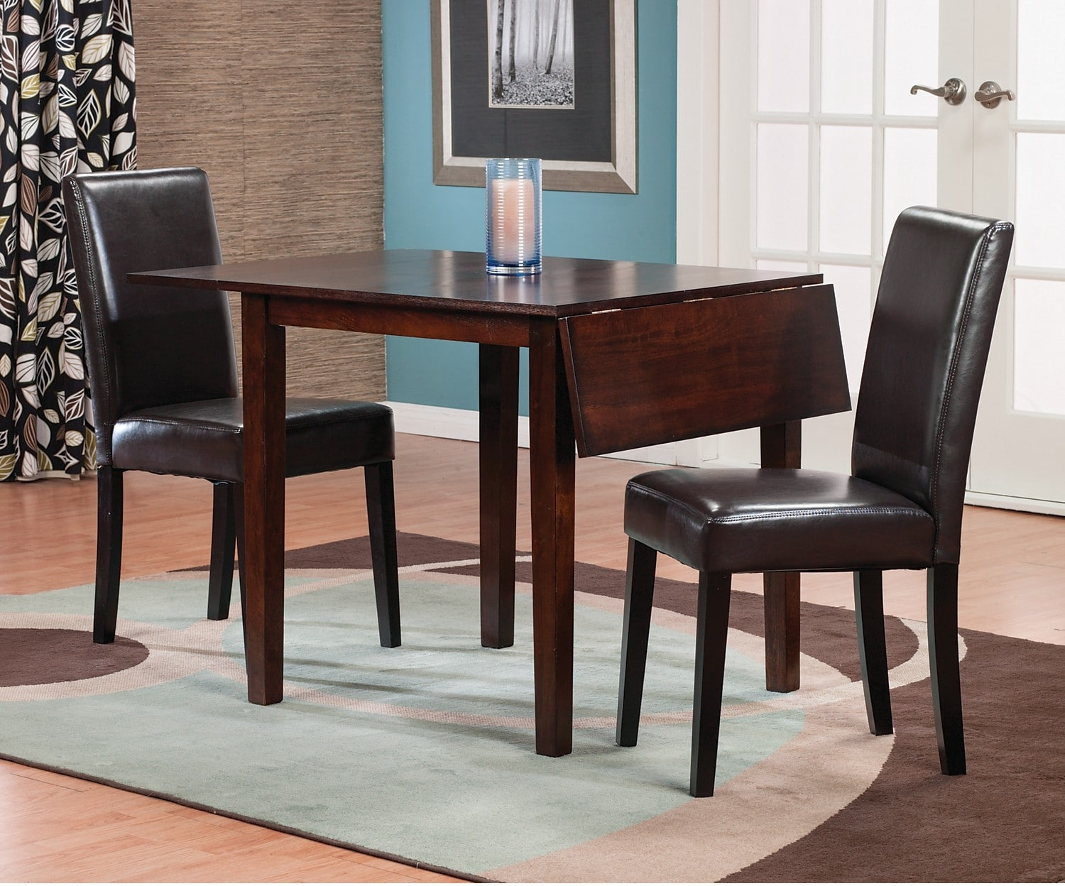 Dining Room Furniture - Dakota 3-Piece Square Table Dining Package with Brown Chairs