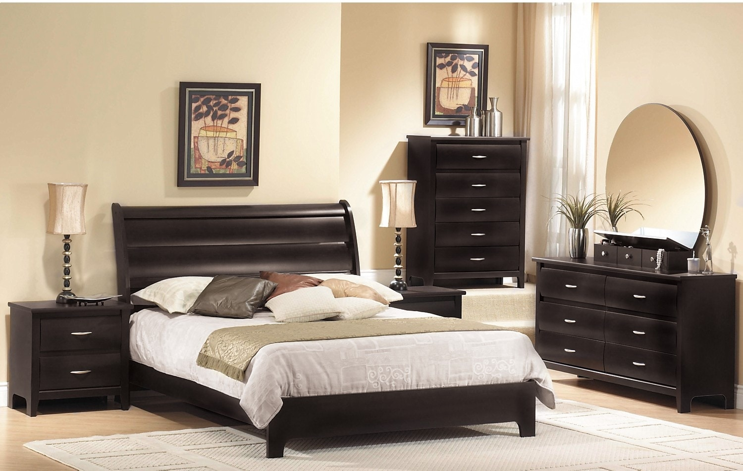 Bedroom Furniture - Mocha 7-Piece Queen Bedroom Package