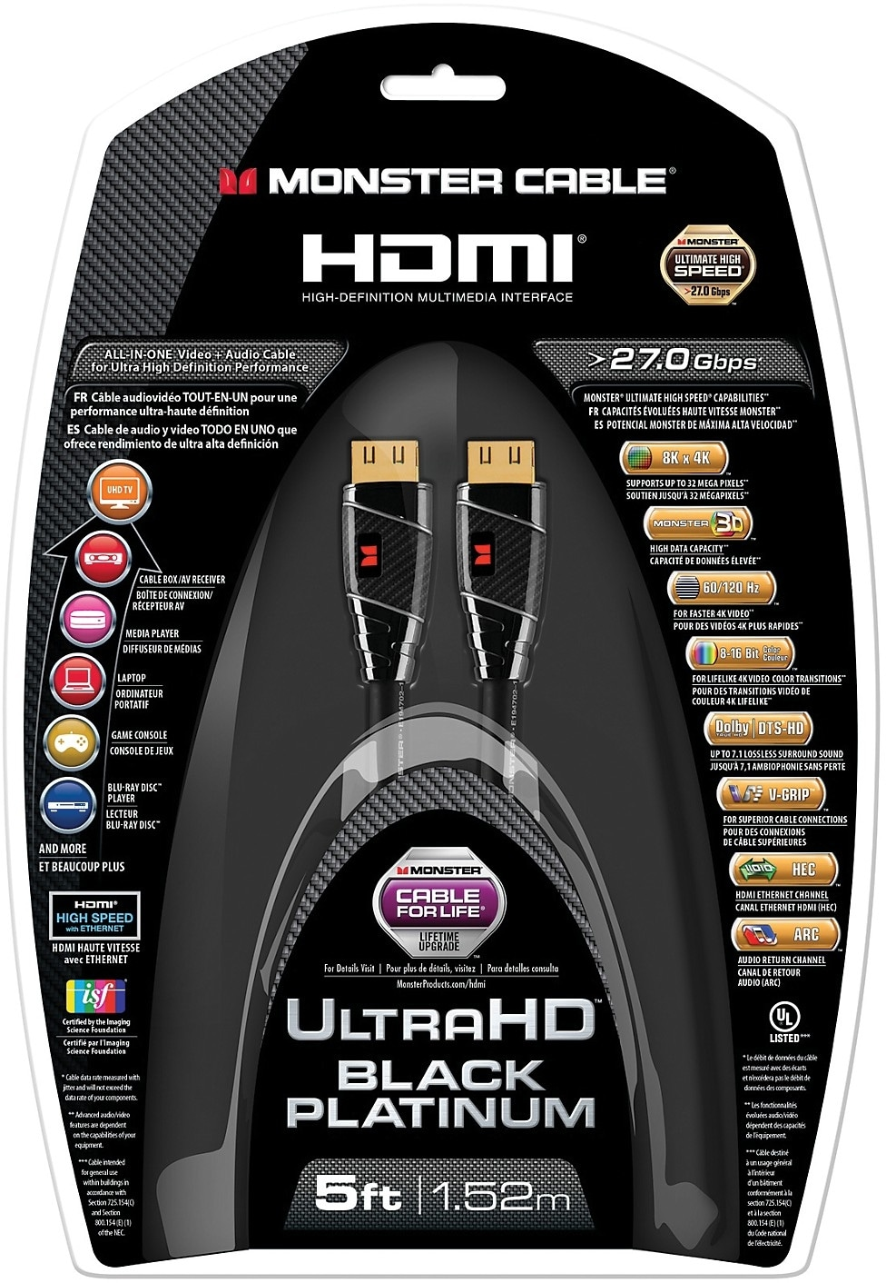 Monster 174 Ultra Hd Black Platinum Ultimate High Speed Hdmi