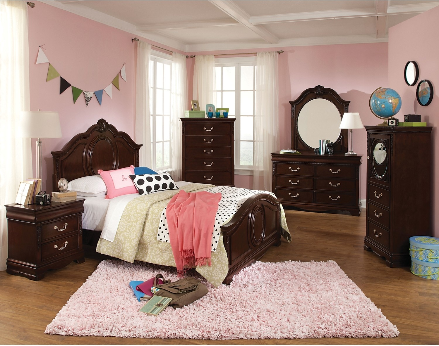 Kids Furniture - Jessica 4-Piece Twin Bedroom Package - Cherry