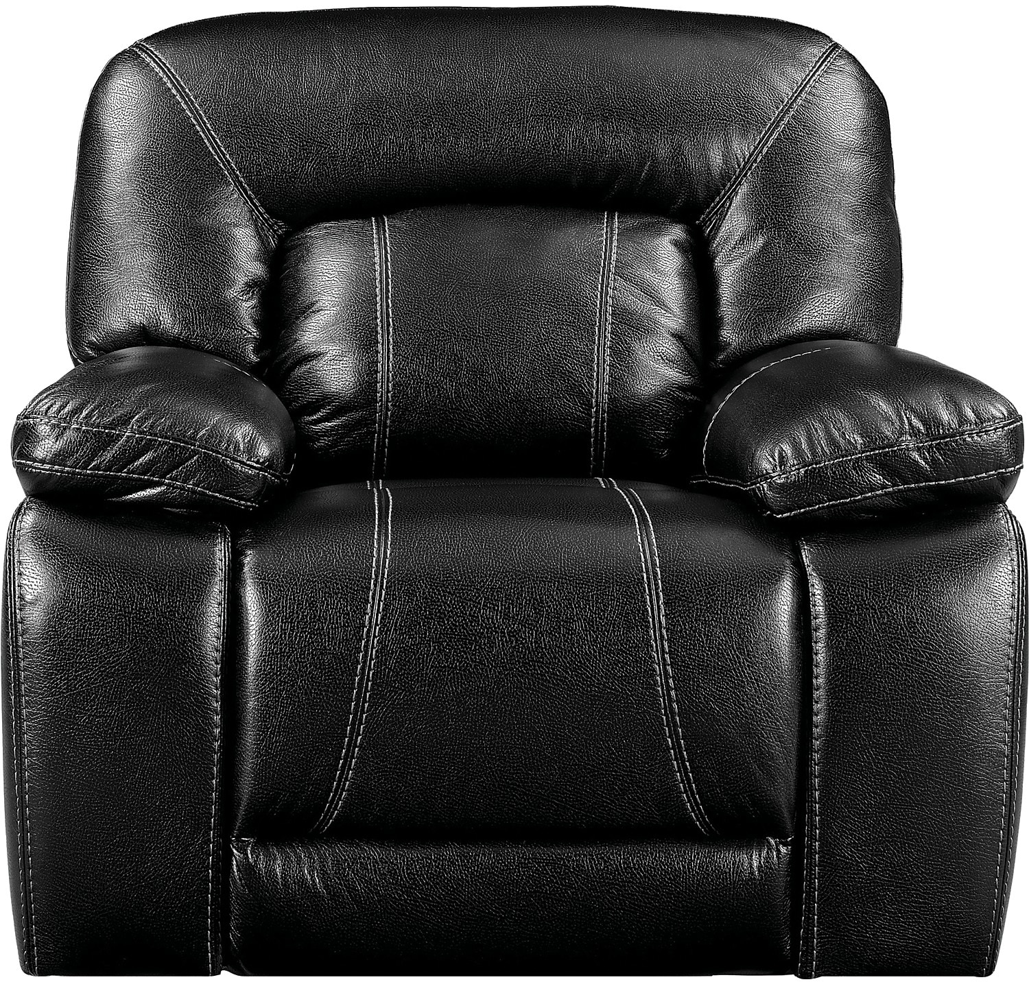 Living Room Furniture - Kimba Leather-Look Fabric Reclining Chair – Black