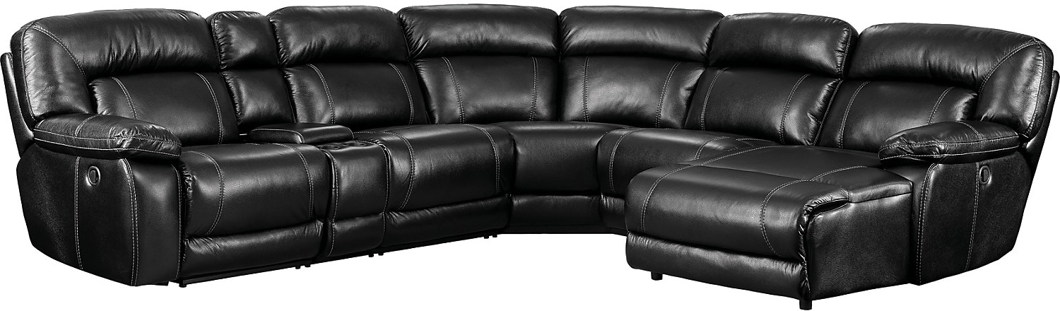 Kimba 6-Piece Leather-Look Fabric Sectional with Left-Facing Power Reclining Chair – Black