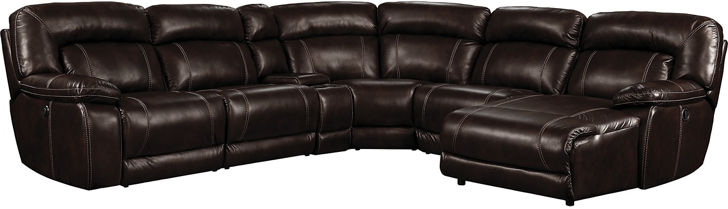 Living Room Furniture - Kimba 6-Piece Leather-Look Fabric Sectional with Left-Facing Power Reclining Chair - Brown