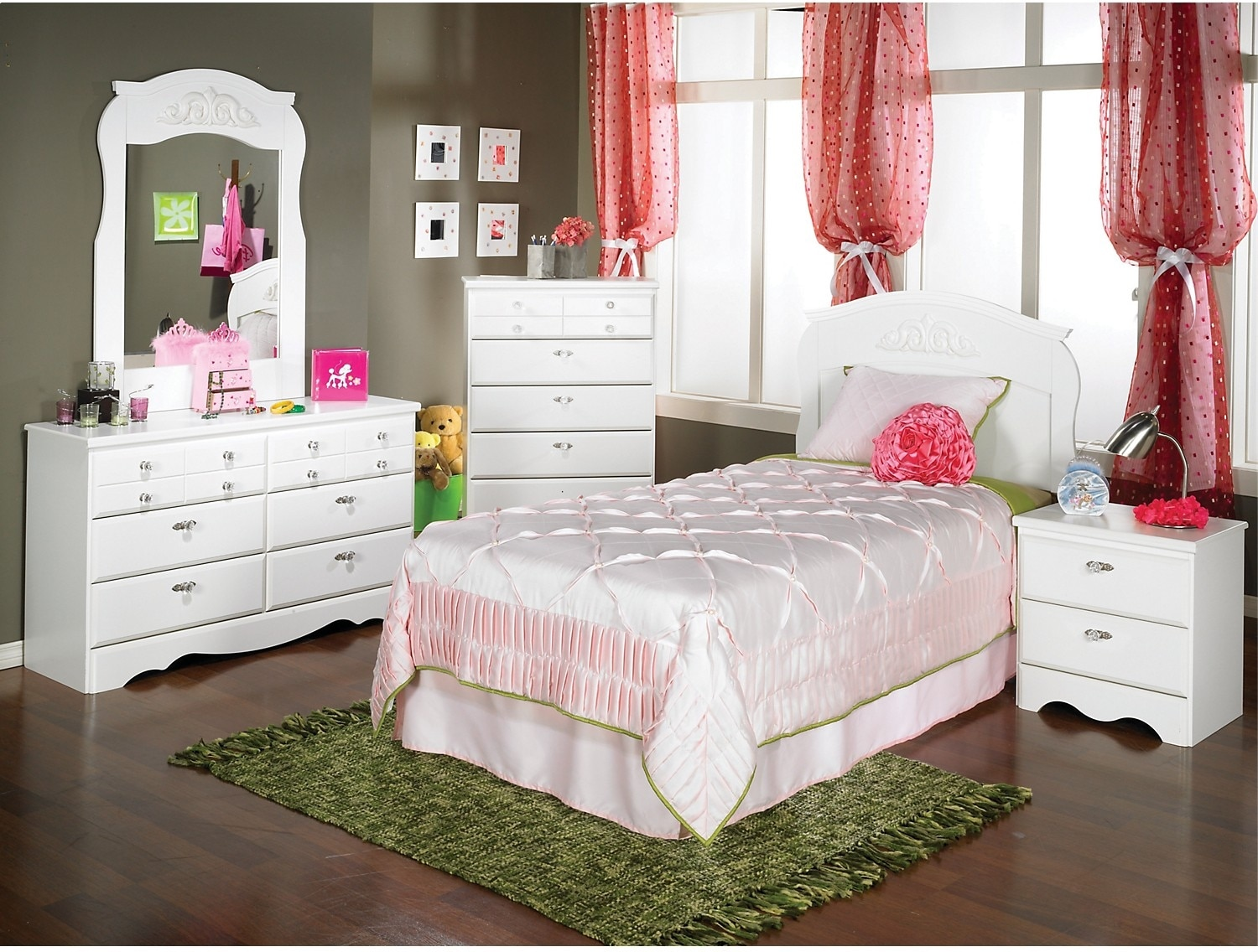 Kids Furniture - Diamond Dreams 5-Piece Twin Bedroom Package - White