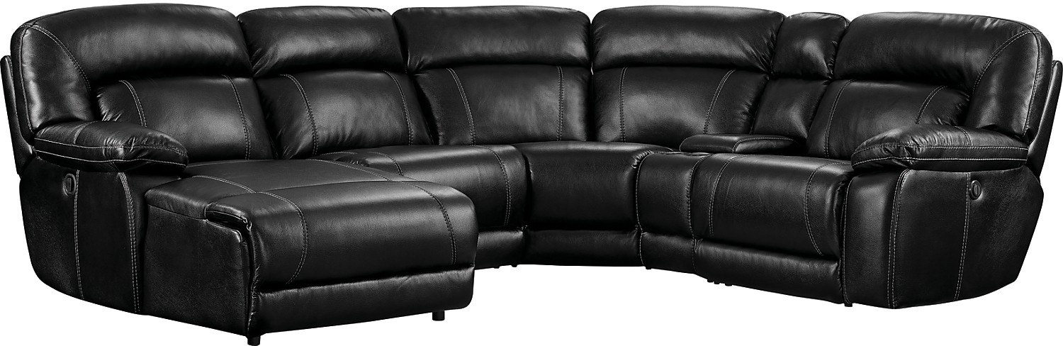 Living Room Furniture - Kimba 5-Piece Leather-Look Fabric Sectional with Right-Facing Power Reclining Chair - Black