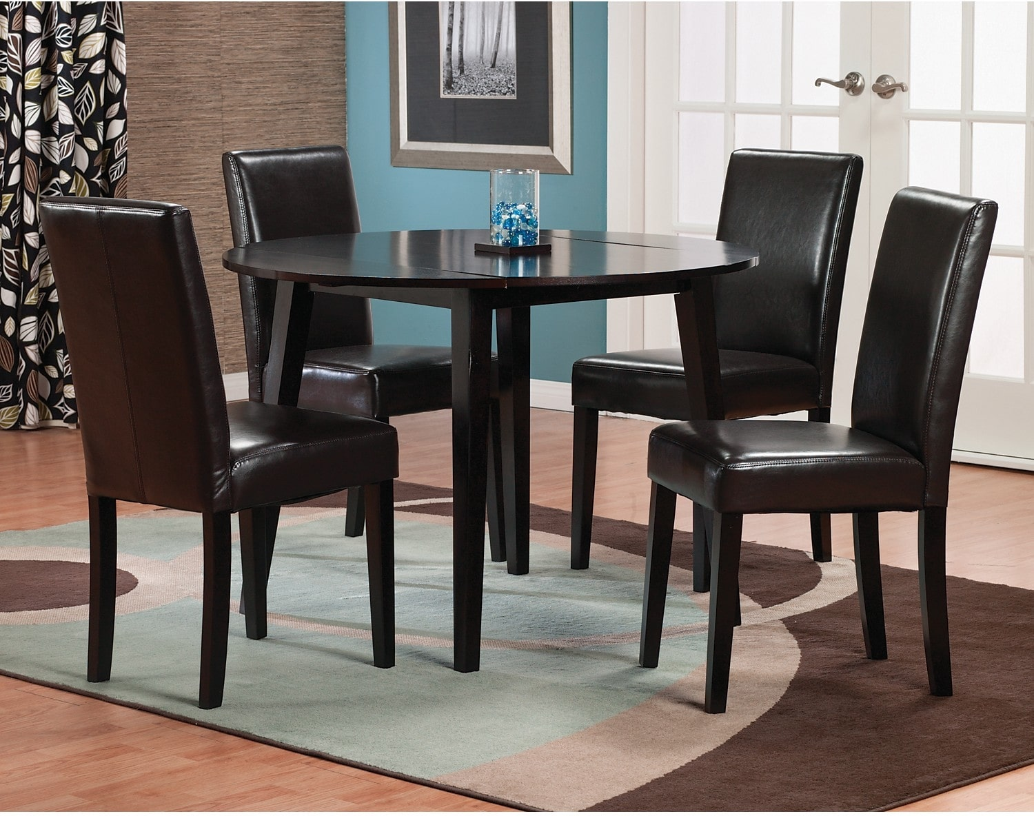 Dakota 5-Piece Round Table Dining Package with Brown Chairs