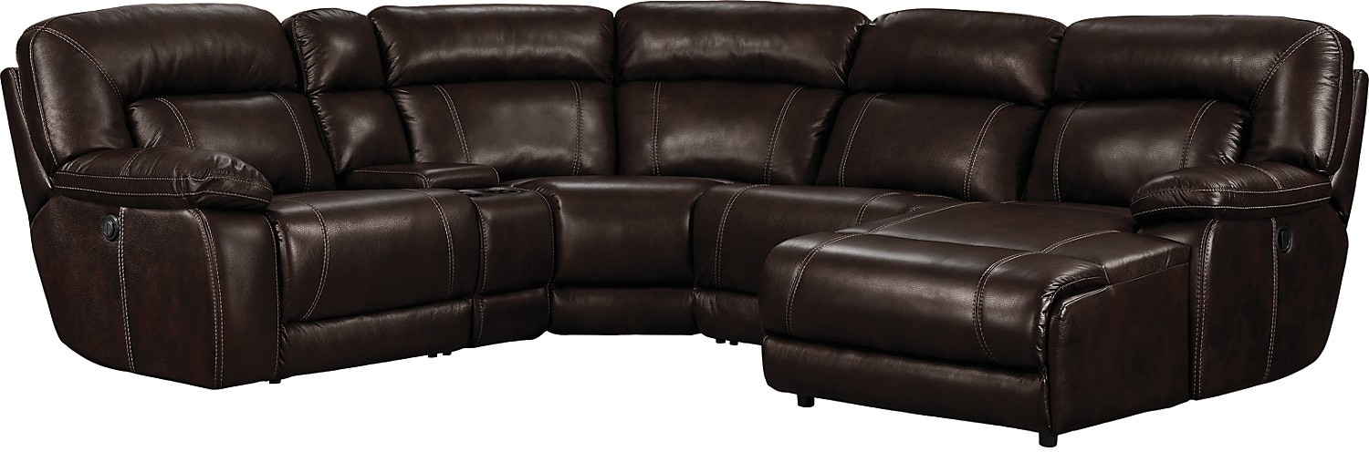 Living Room Furniture - Kimba 5-Piece Leather-Look Fabric Sectional with Left-Facing Power Reclining Chair - Brown