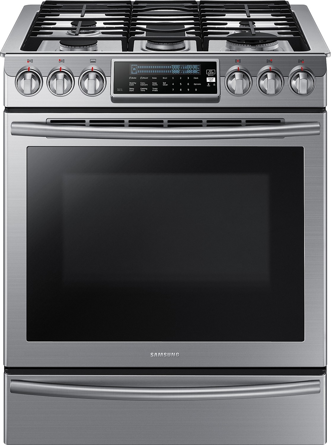 Cooking Products - Samsung 5.8 Cu. Ft. Convection Slide-In Gas Range – Stainless Steel