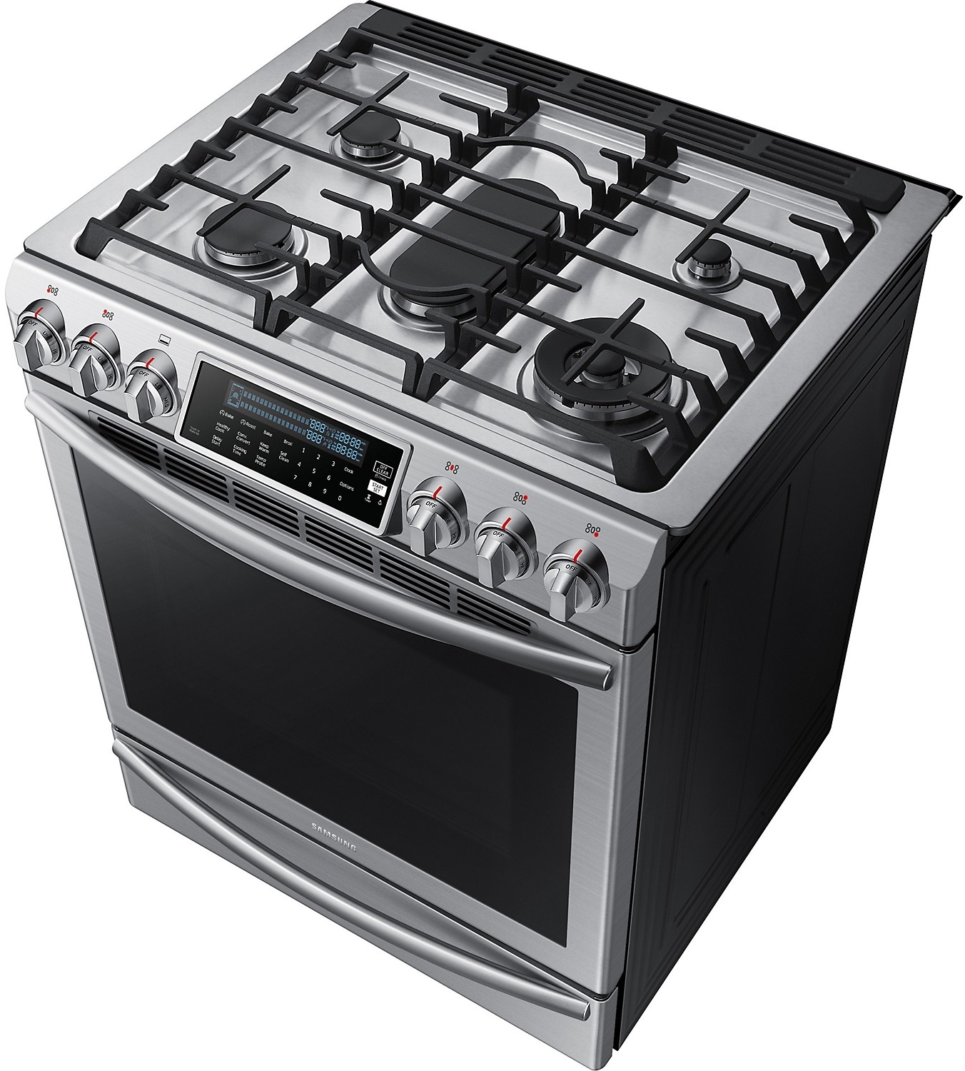 samsung 5 8 cu ft convection slide in gas range stainless steel the brick. Black Bedroom Furniture Sets. Home Design Ideas