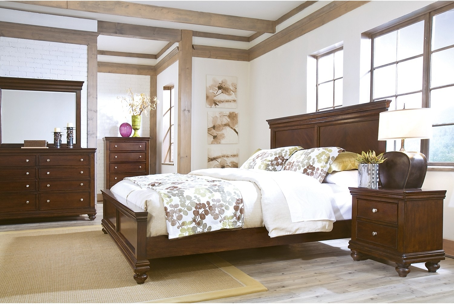 Bedroom Furniture - Bridgeport 8-Piece Queen Bedroom Package - Cherry