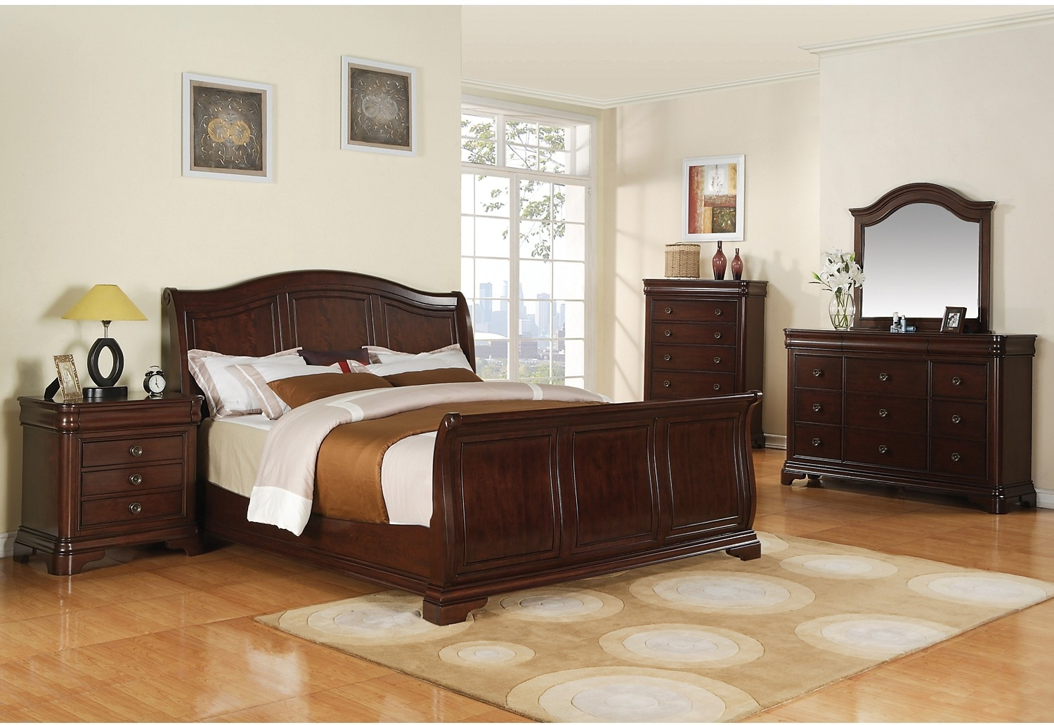 Bedroom Furniture - Cameron 8-Piece King Bedroom Package - Merlot