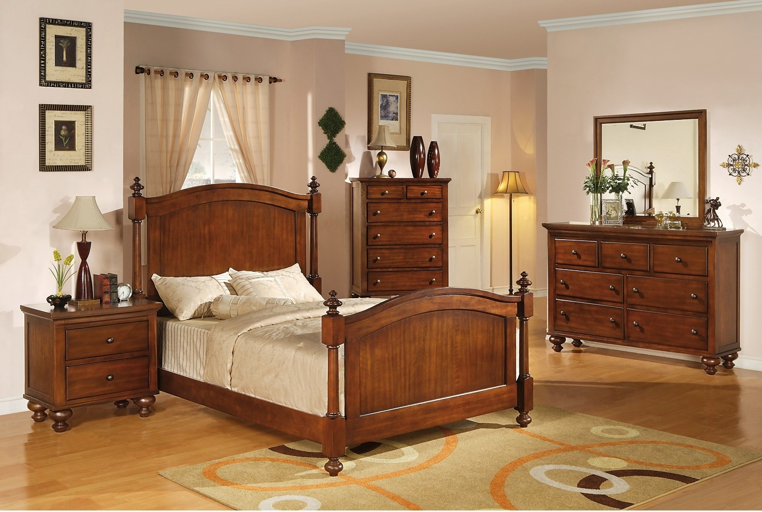 Bedroom Furniture - Kennedy 8-Piece King Bedroom Package - Cherry