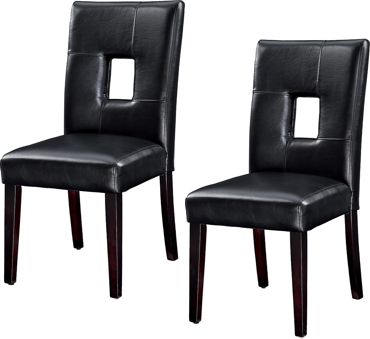 Dining Room Furniture - McKena Faux Leather Dining Chair, Set of 2 – Black