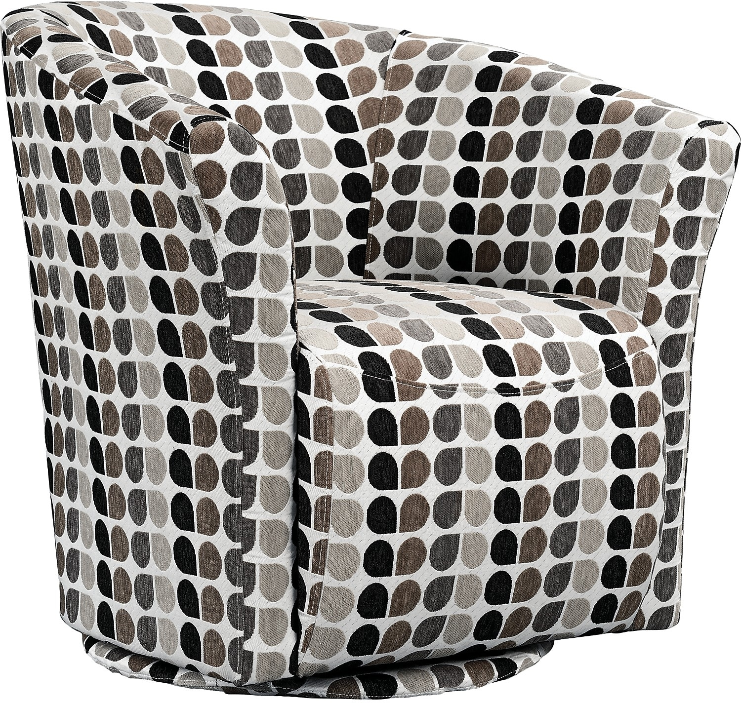 Accent and Occasional Furniture - Tub-Style Fabric Swivel Accent Chair - Steel