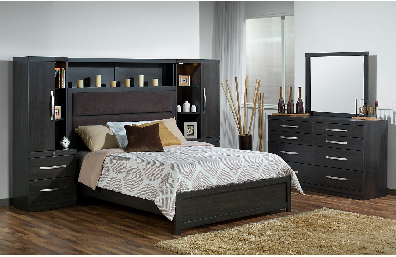 Willowdale king 8 piece pier bedroom package the brick for Bedroom furniture packages