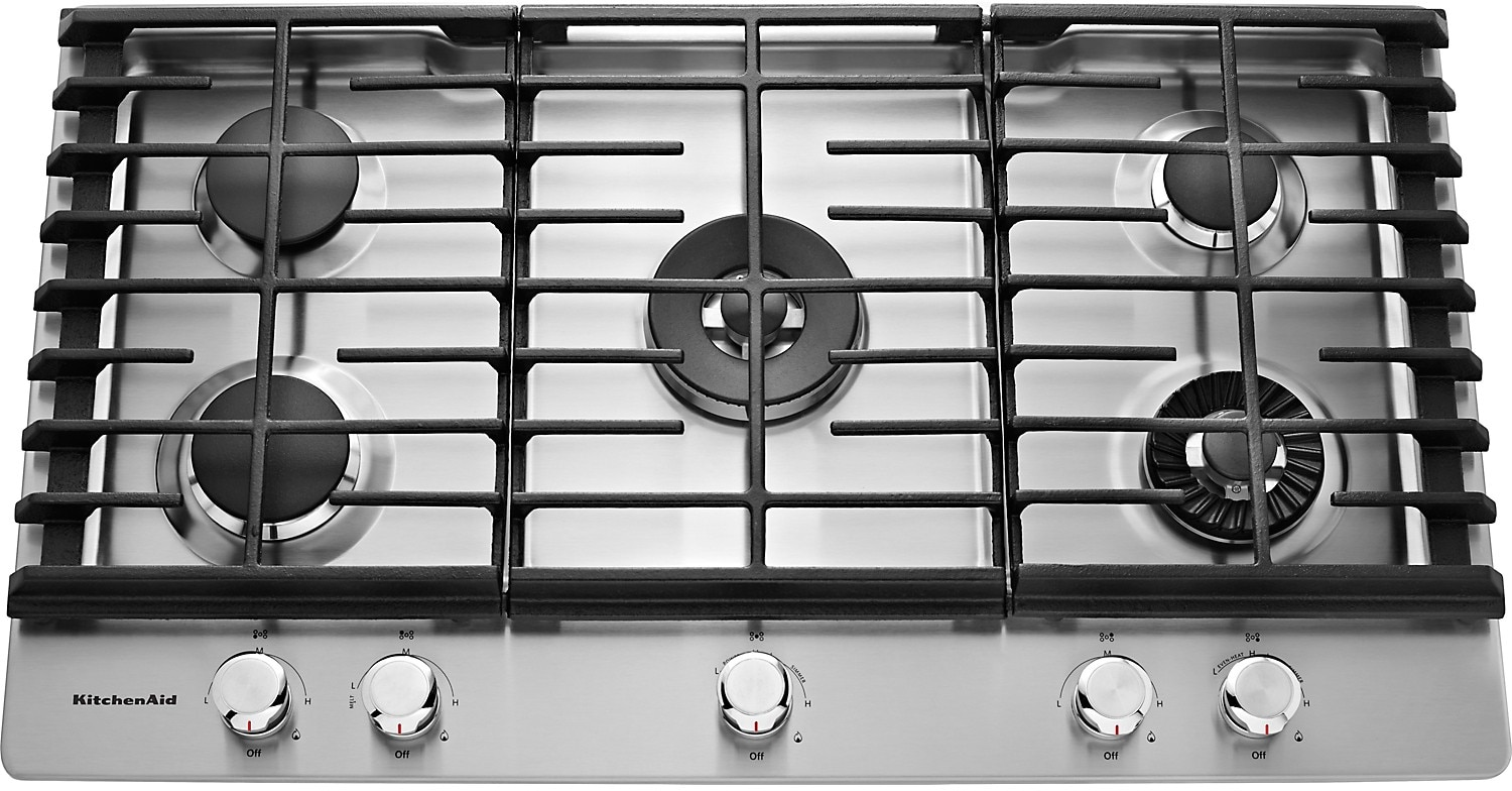 "Cooking Products - KitchenAid 36"" 5- Burner Gas Cooktop with Griddle – Stainless Steel"