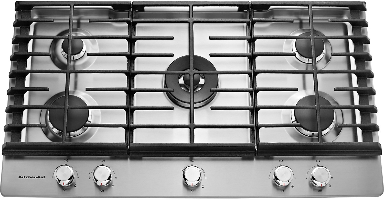 "Cooking Products - KitchenAid 36"" 5- Burner Gas Cooktop – Stainless Steel"