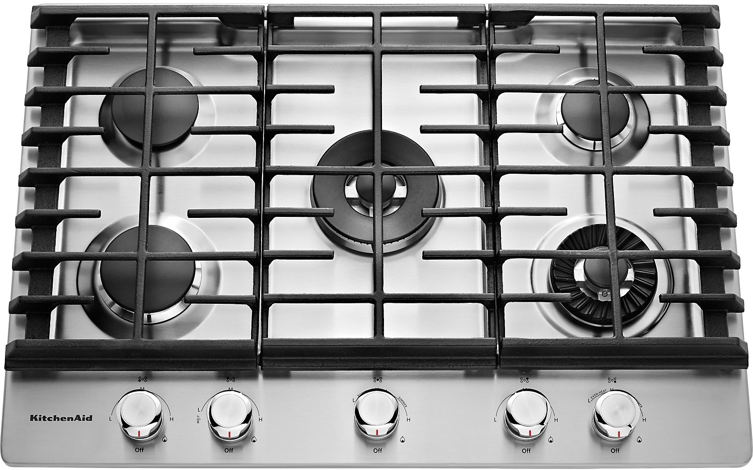 "Cooking Products - KitchenAid 30"" 5- Burner Gas Cooktop with Griddle – Stainless Steel"