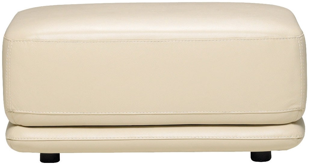 Chateau d'Ax 100% Genuine Leather Ottoman - Ivory