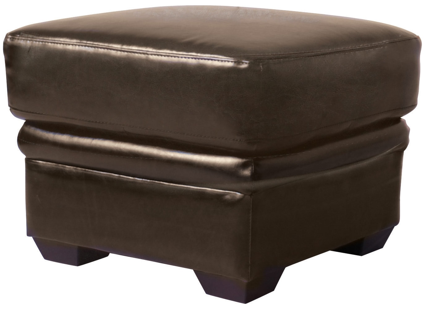 Living Room Furniture - Chase Brown Faux Leather Ottoman
