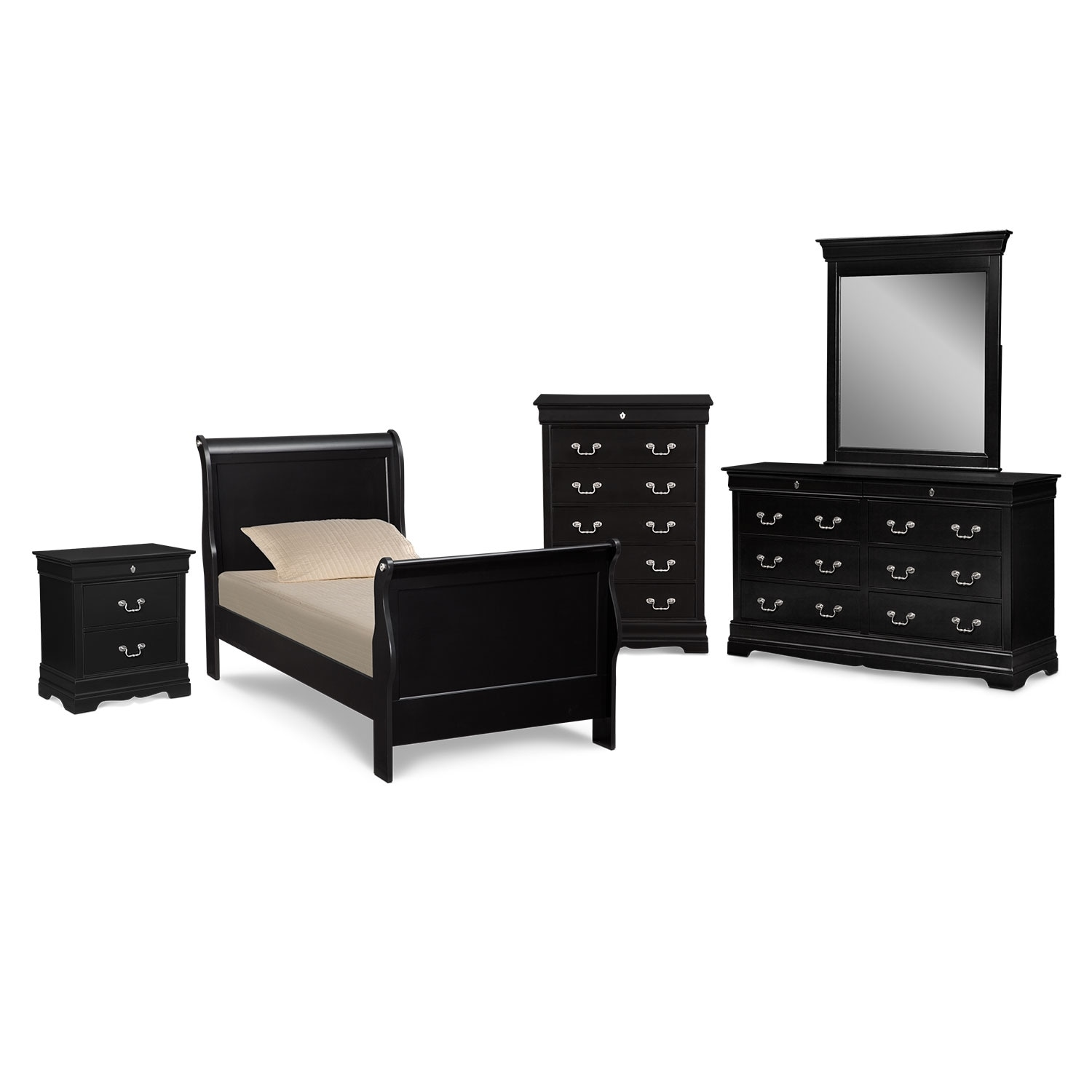 [Neo Classic Black II 7 Pc. Full Bedroom]