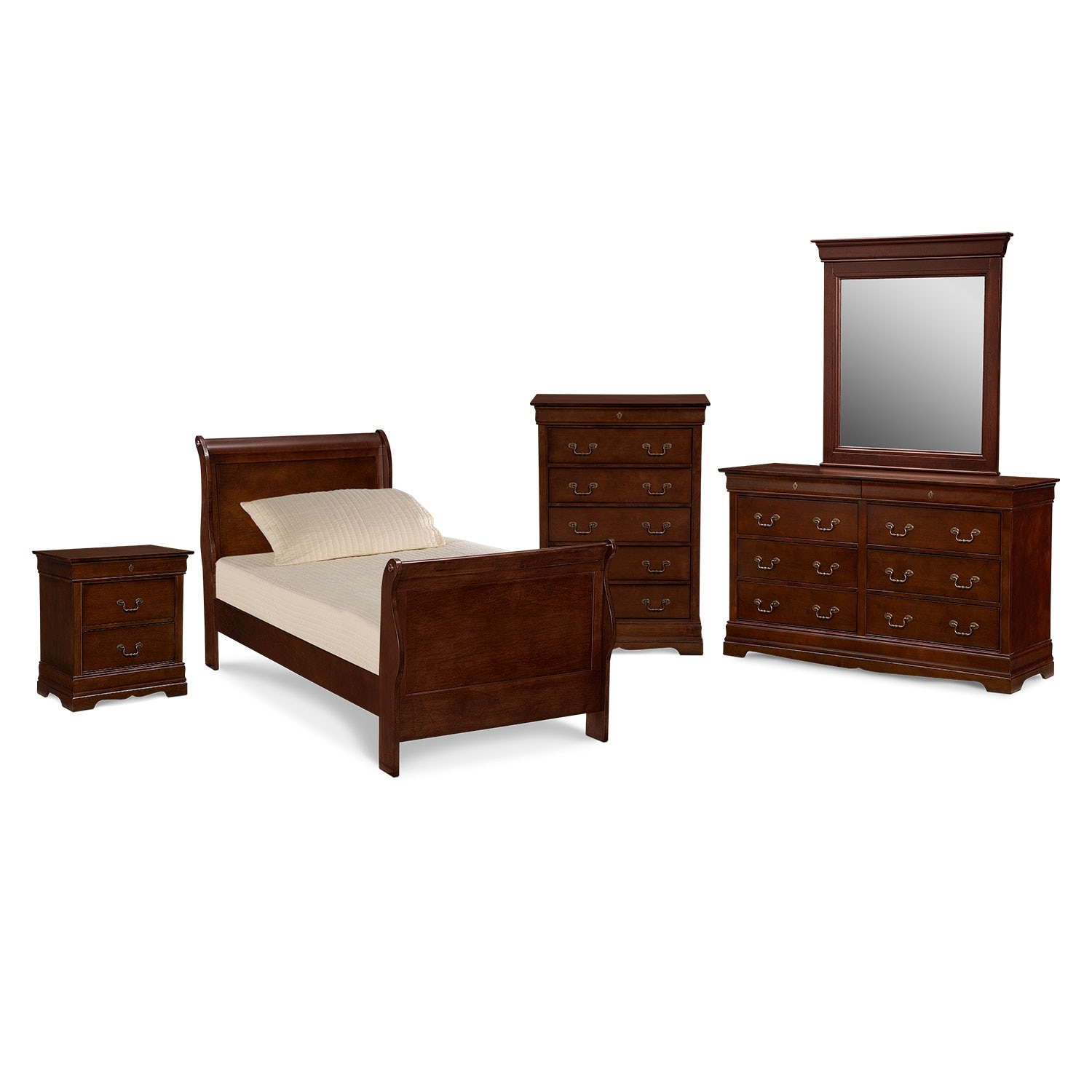 Neo classic youth 7 piece twin bedroom set cherry for Cherry furniture