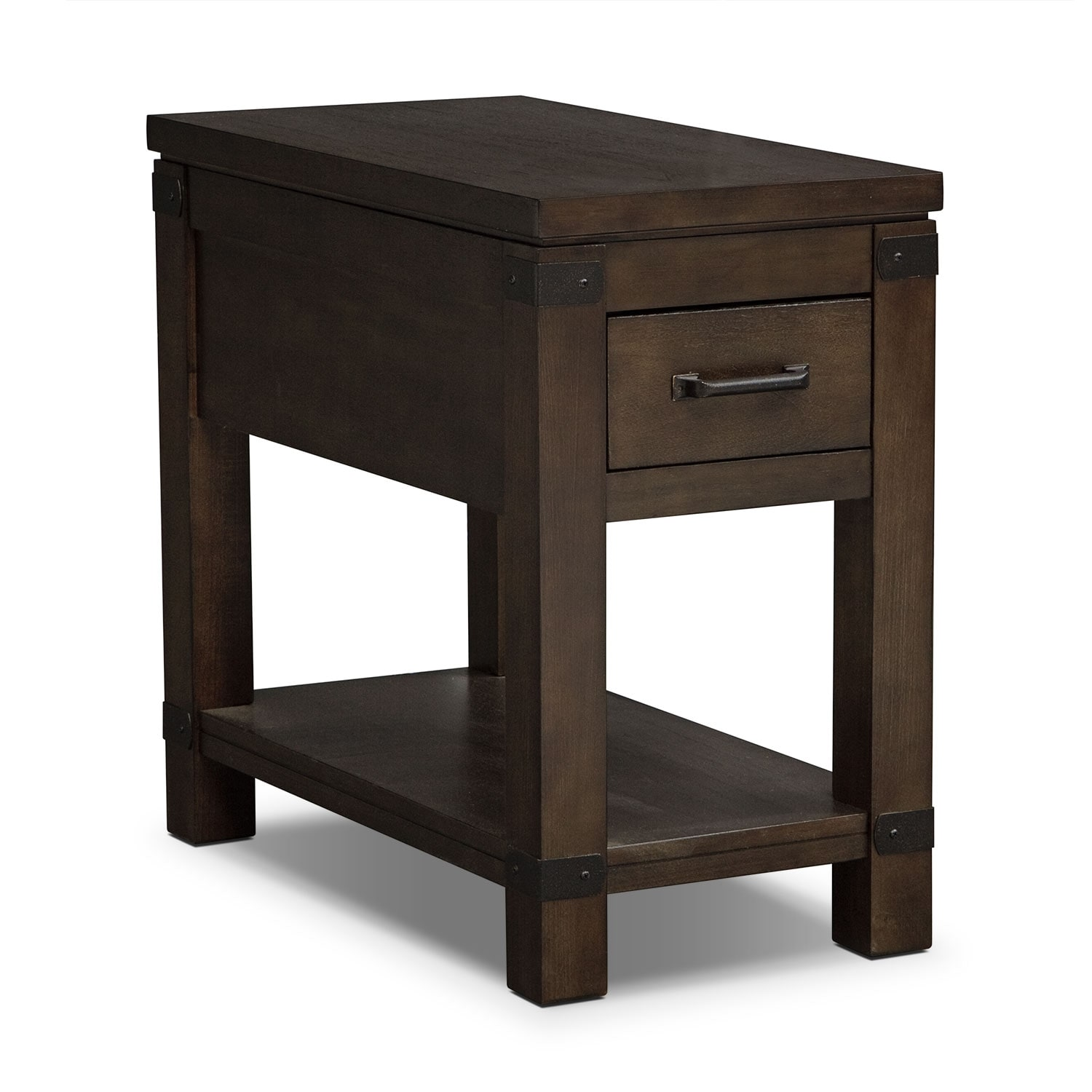 Camryn chairside table warm cocoa value city furniture for Table furniture