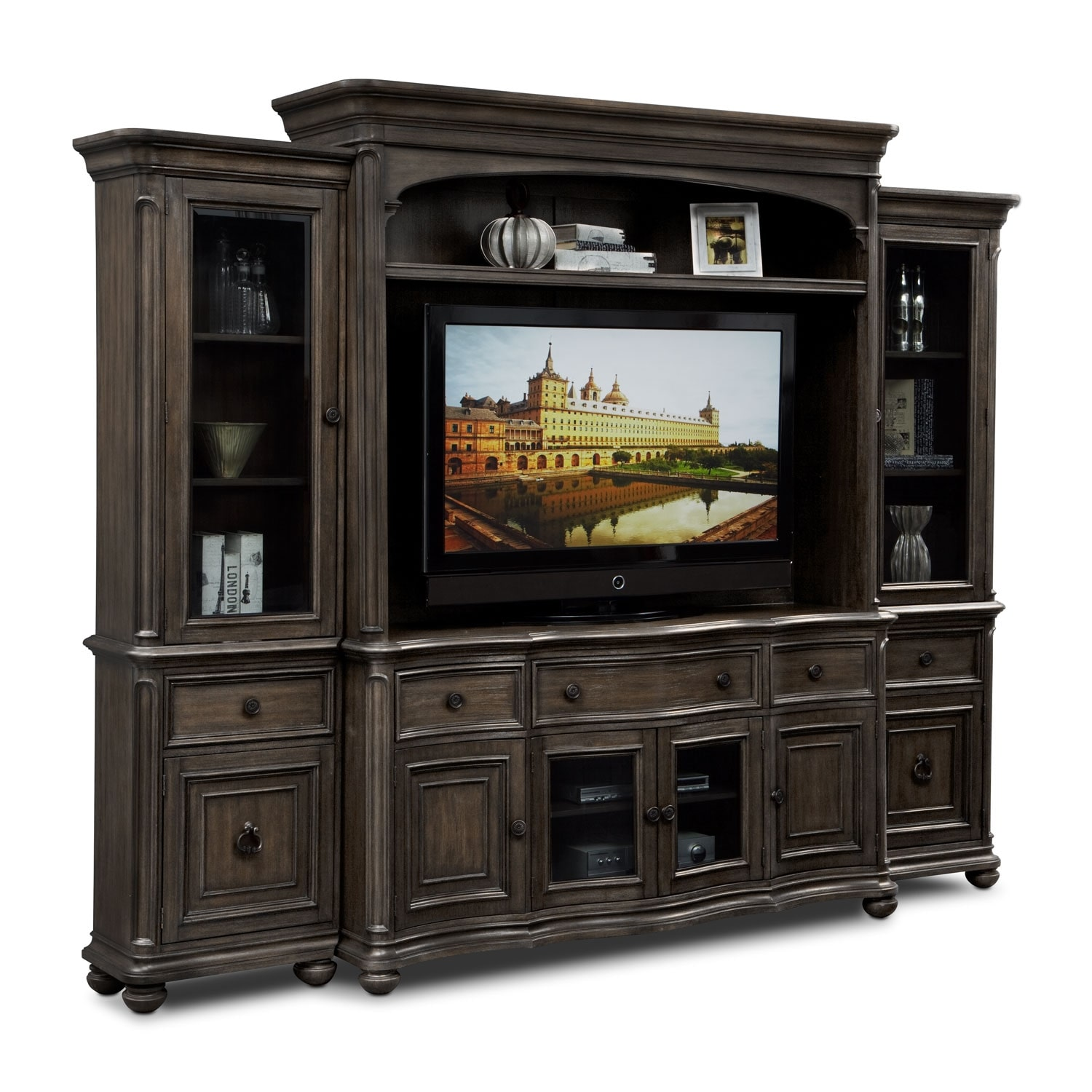 Highland Entertainment Wall Units 4 Pc Entertainment Wall: wall unit furniture