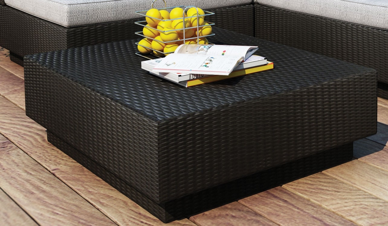 Outdoor Furniture - Parkview Patio Ottoman - Black